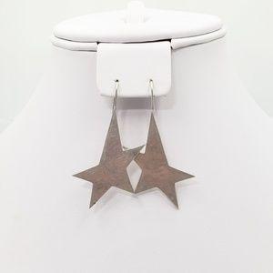 Jewelry - Vintage Asymmetrical Star Sterling Silver Earrings